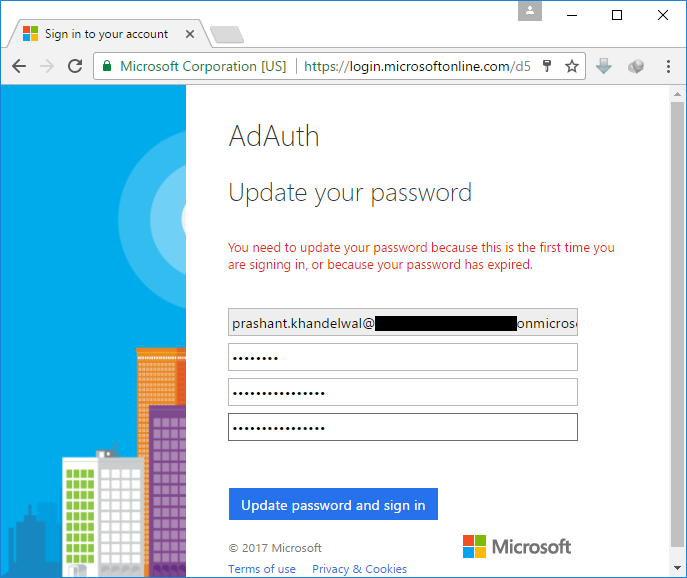 App AD password update page
