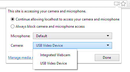 Camera and mic access in browser