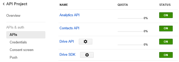 Enable API in Google Dev Console