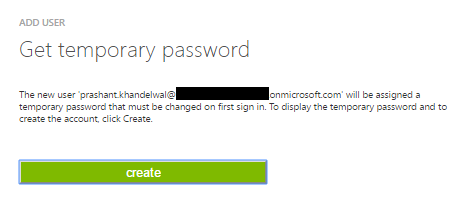 Get temporary password for user