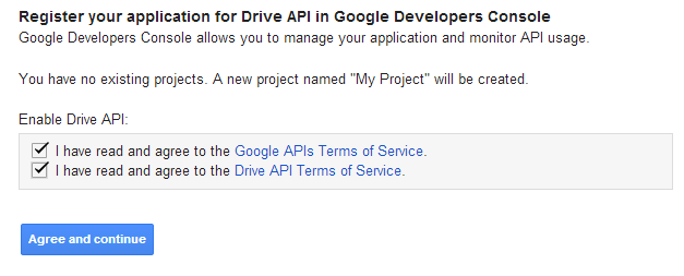 Registering the application on Google Dev Console