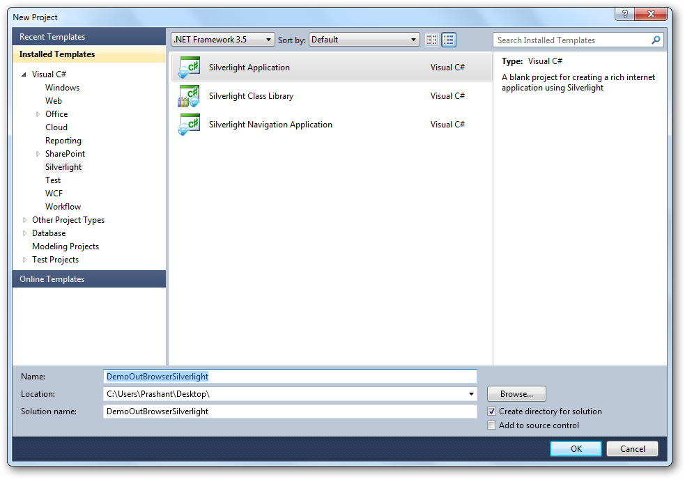 Creating a new silverlight app in Visual Studio