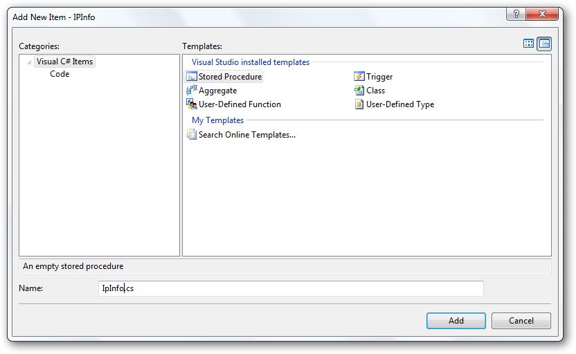 Add a new stored procedure