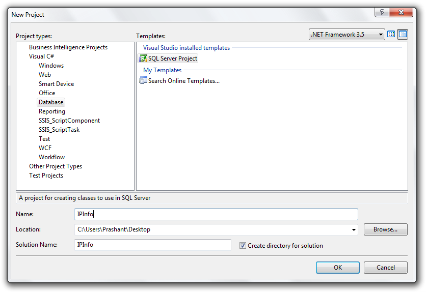 SQL CLR new Visual Studio project