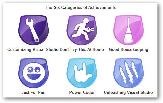 Visual Studio achievements categories