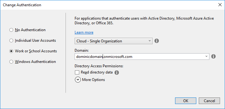 Change auth in Visual Studio