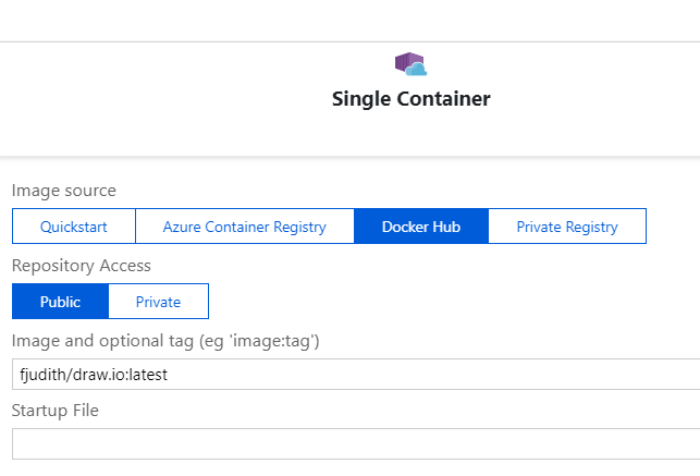 Add image from the docker hub public repo