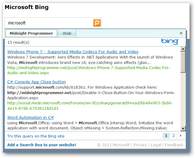 Web helpers advance bing search