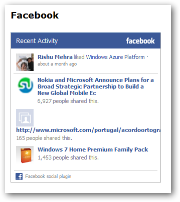 Web helpers facebook recent activity widget