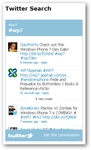 Web helpers twitter widget search