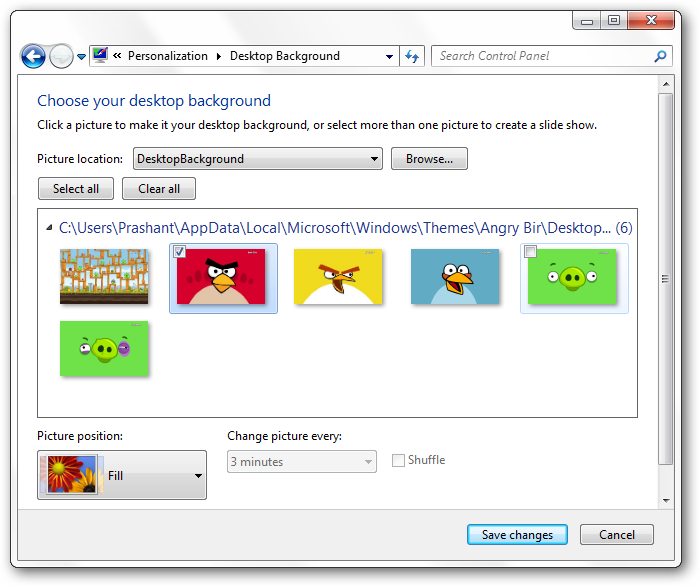Windows 7 Angry Birds theme