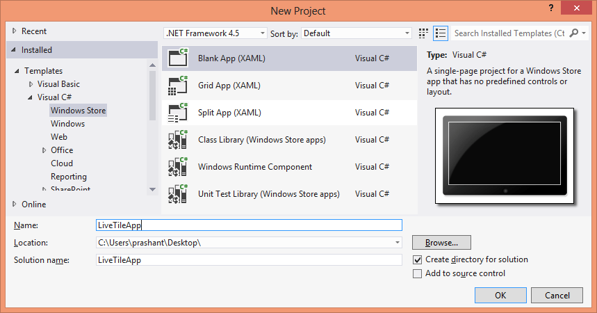 Windows 8 new app in Visual Studio