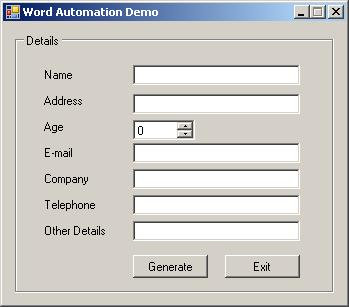 Application for word mail merge